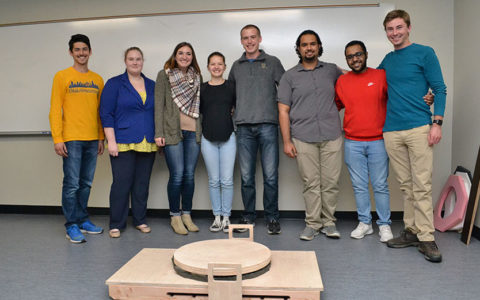 group photo of the students who built a fishing simulator