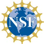 globe with gold spokes and the letters NSF in front, the logo of the National Science Foundation